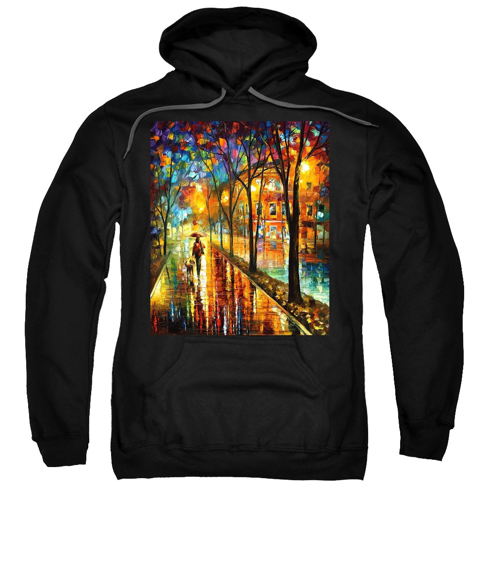 Oil Paintings Sweatshirt featuring the painting Stroll With My Best Friend - Palette Knife Oil Painting On Canvas By Leonid Afremov by Leonid Afremov