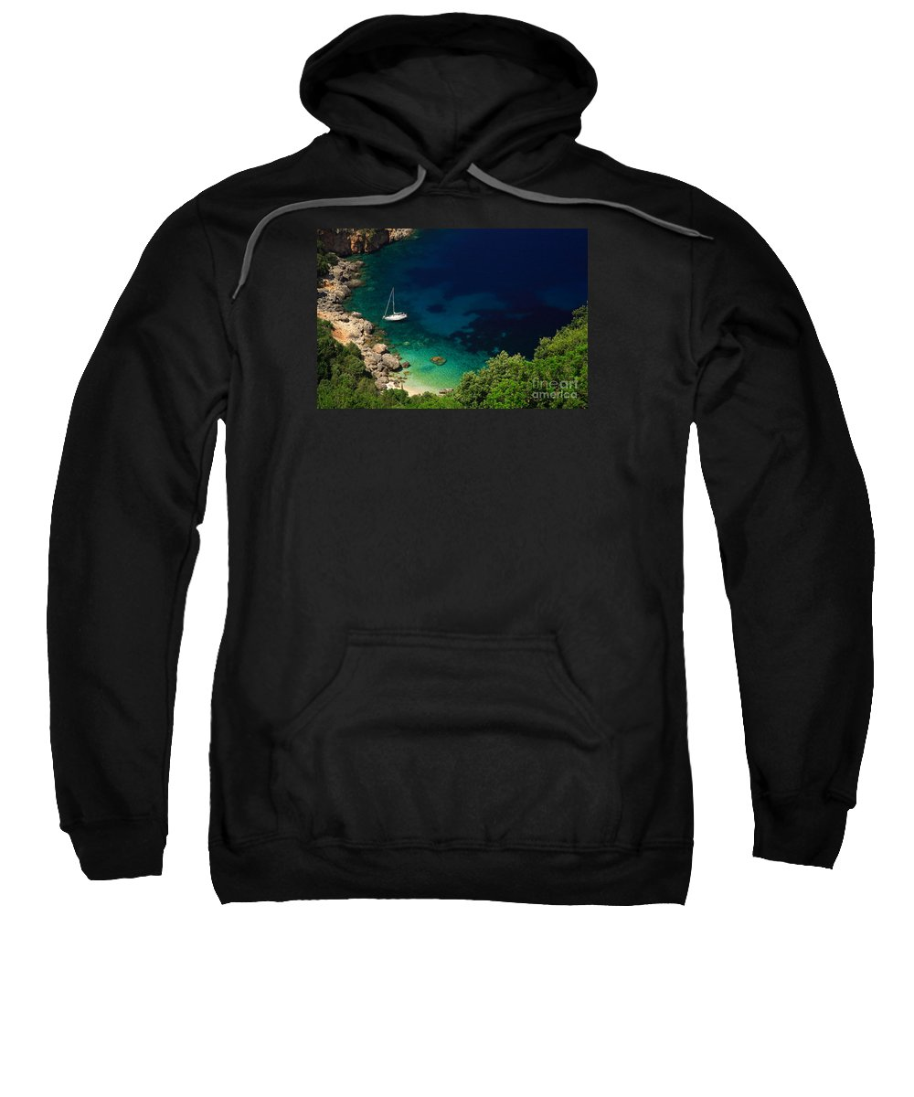 Azure Sweatshirt featuring the photograph Stunning Beach Kefalonia by Deborah Benbrook