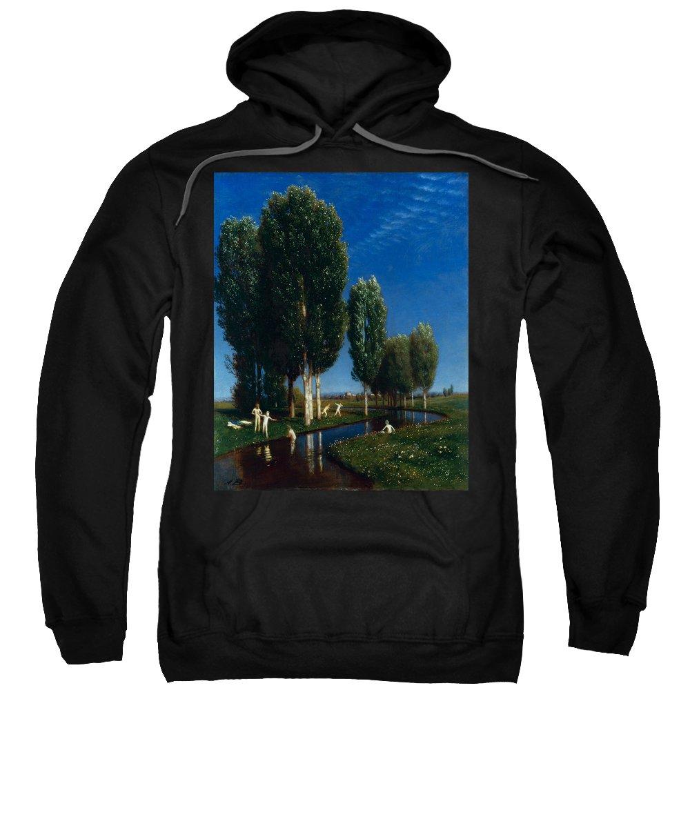 Arnold Boecklin Sweatshirt featuring the painting Summer Day by Arnold Boecklin