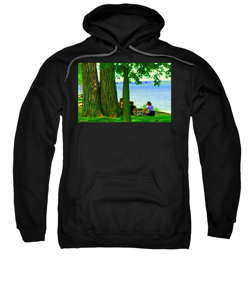 Montreal Sweatshirt featuring the painting Sunday Picnic On The Lake Maple Trees At The Canal Pte Claire Montreal Waterscene Carole Spandau by Carole Spandau