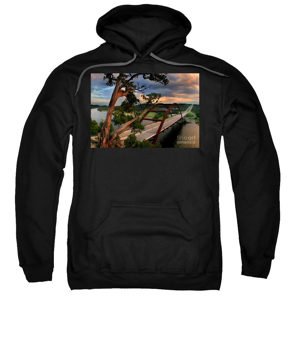 The Pennybacker 360 Bridge Sweatshirt featuring the photograph Sundown On Pennybacker 360 by Randy Smith