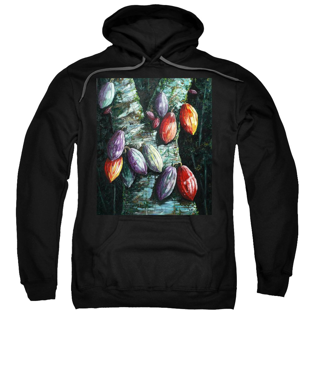 Caribbean Paintings Cocoa Fruit Paintings Tree Paintings Cocoa Paintings Chocolate Tree Paintings  Fruit Pods Paintings  Tropical Paintings Greeting Card Paintings Canvas Prints Paintings Poster Print Paintings  Sweatshirt featuring the painting Sunlight And Chocolate by Karin Dawn Kelshall- Best
