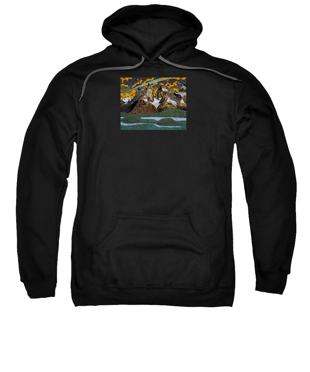 Mountains Sweatshirt featuring the painting Sunrise by Alan Morrison