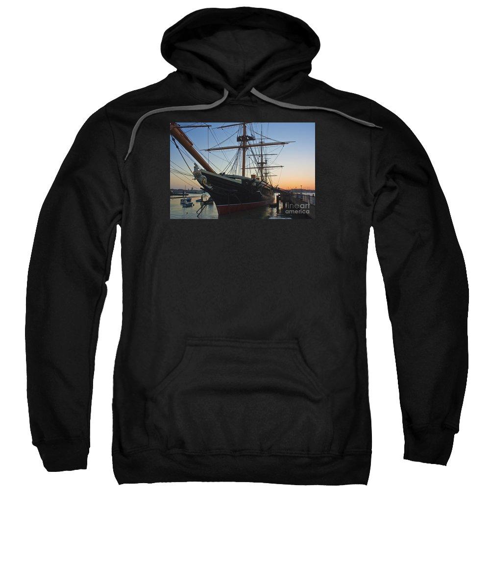 Hms Warrior Sweatshirt featuring the photograph Sunset Behind Hms Warrior by Terri Waters