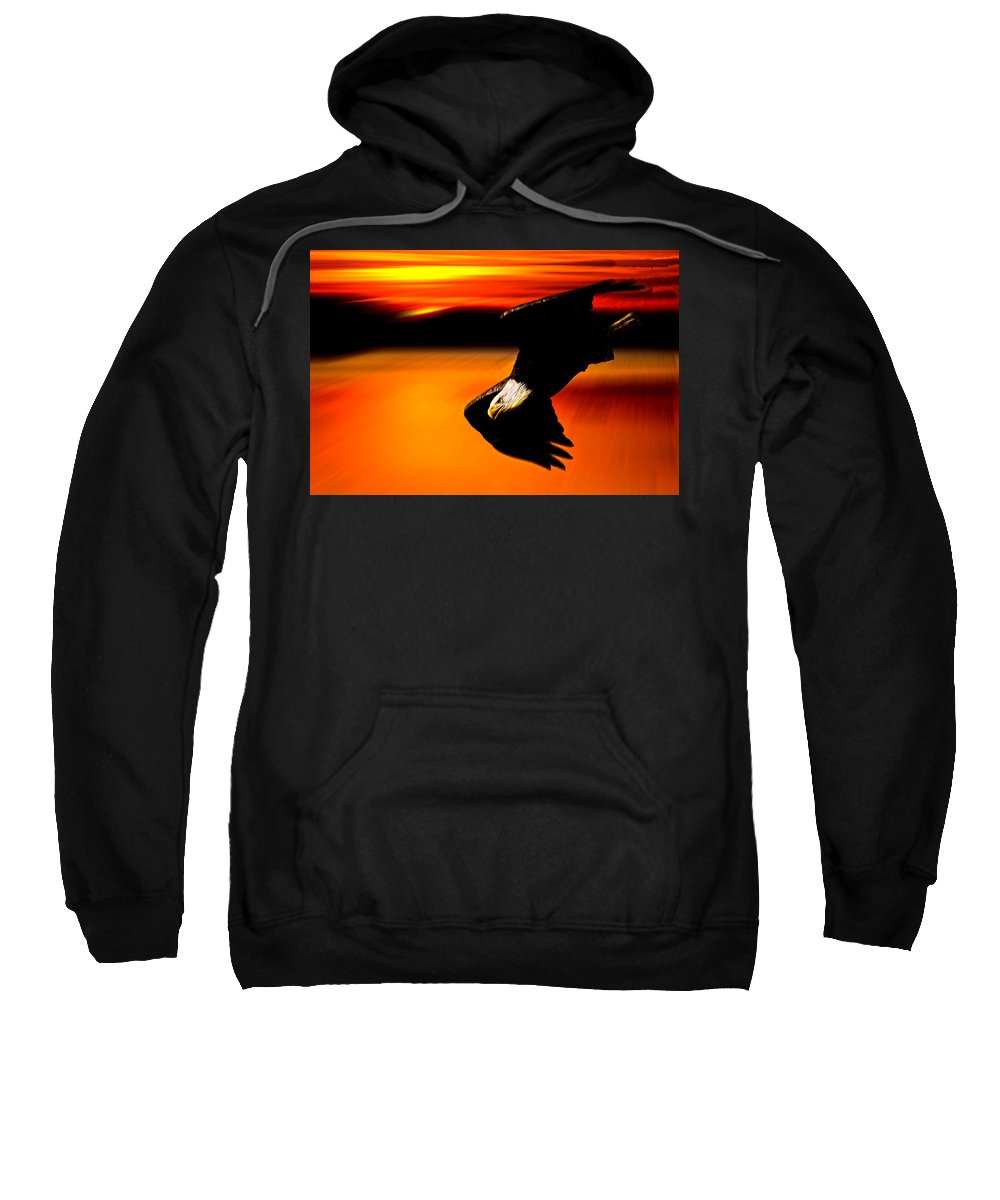 Eagle Sweatshirt featuring the photograph Sunset Dive by Randall Branham