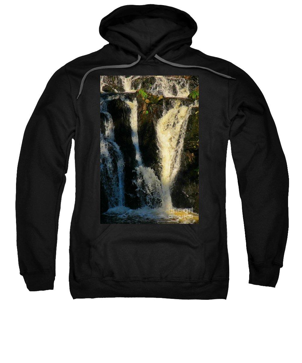 Waterfall Prints Sweatshirt featuring the photograph Sunset On A Waterfall by John Malone