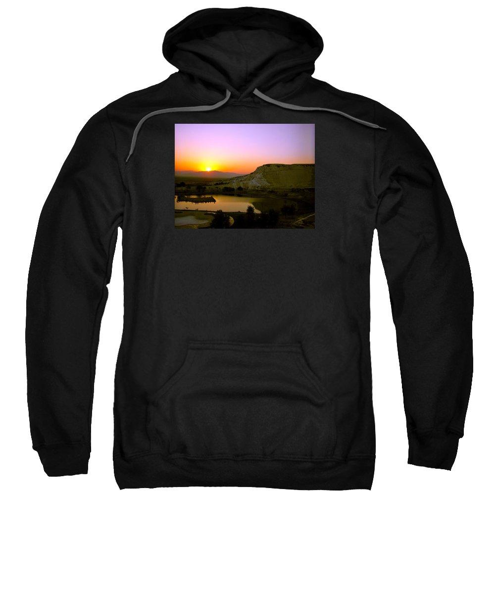 Sunset Sweatshirt featuring the photograph Sunset On Cotton Castles by Zafer Gurel