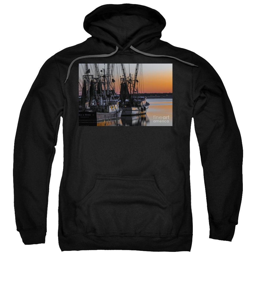 Sunset Sweatshirt featuring the photograph Shem Creek Sunset - Charleston Sc by Dale Powell