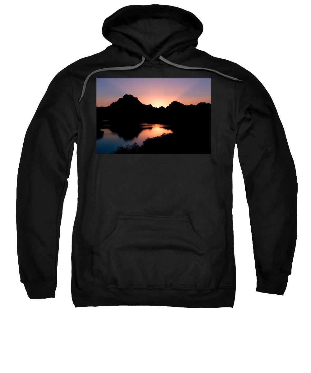 Sunset On The Oxbow Sweatshirt featuring the photograph Sunset On The Oxbow by Gary Langley
