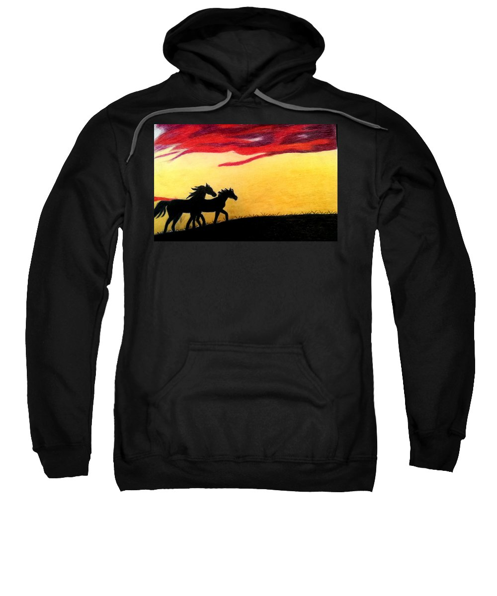Horse Sweatshirt featuring the pastel Sunset Stroll by Connie Blevins