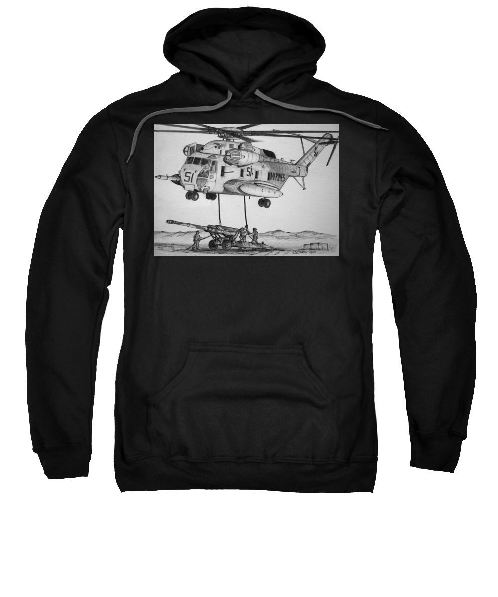 Ch-53 Sweatshirt featuring the drawing Super Stallion Here To Lift by Chris Dang