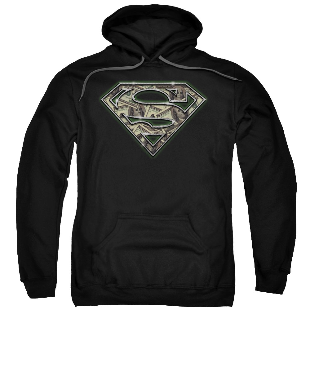 Superman Sweatshirt featuring the digital art Superman - All About The Benjamins by Brand A