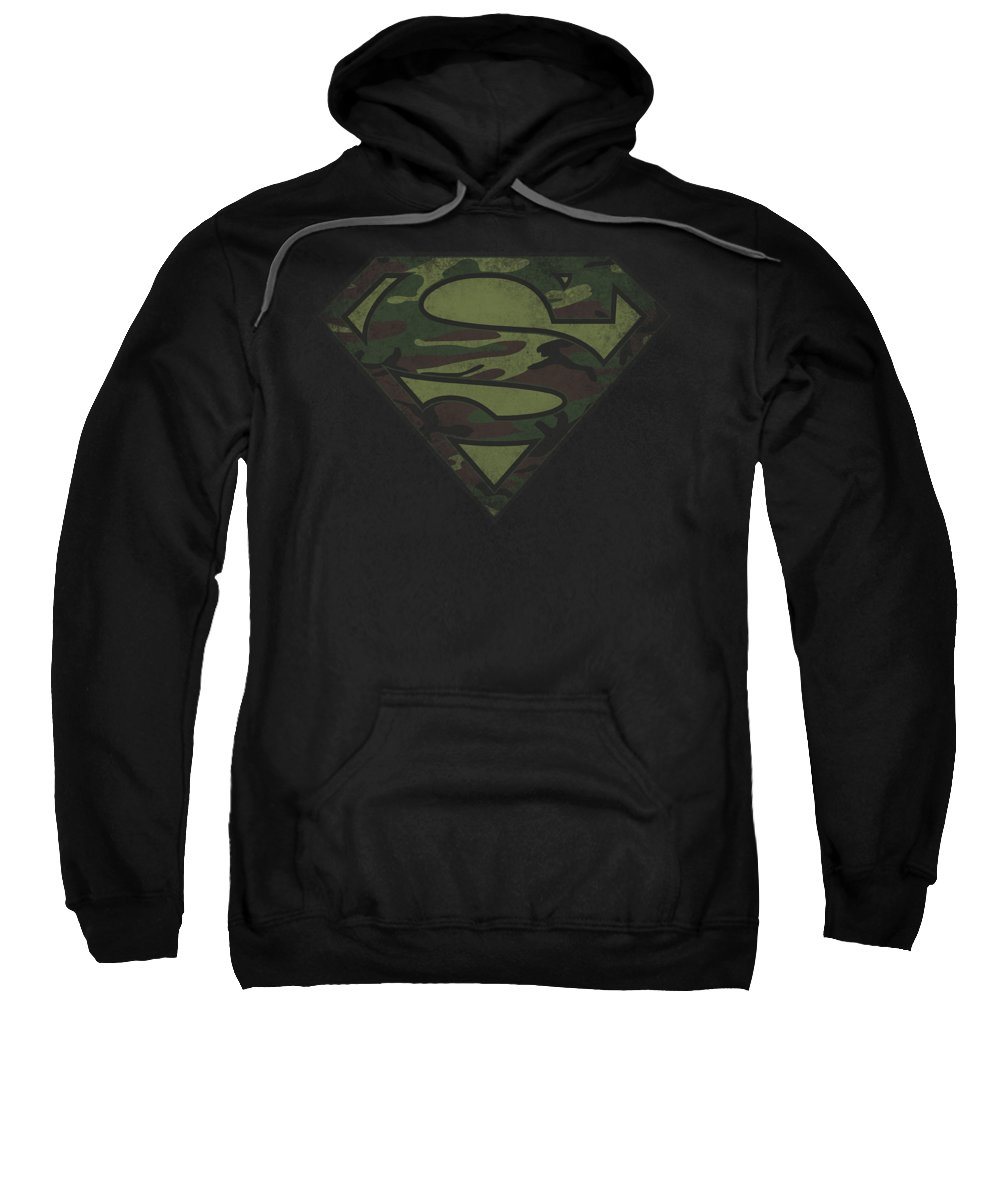 Superman Sweatshirt featuring the digital art Superman - Camo Logo Distressed by Brand A