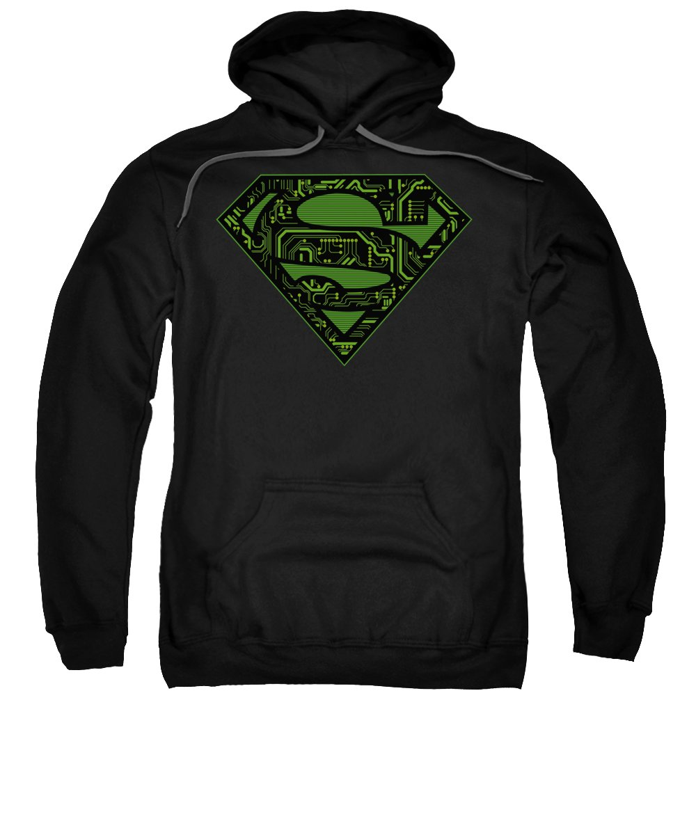 Superman Sweatshirt featuring the digital art Superman - Circuits Shield by Brand A