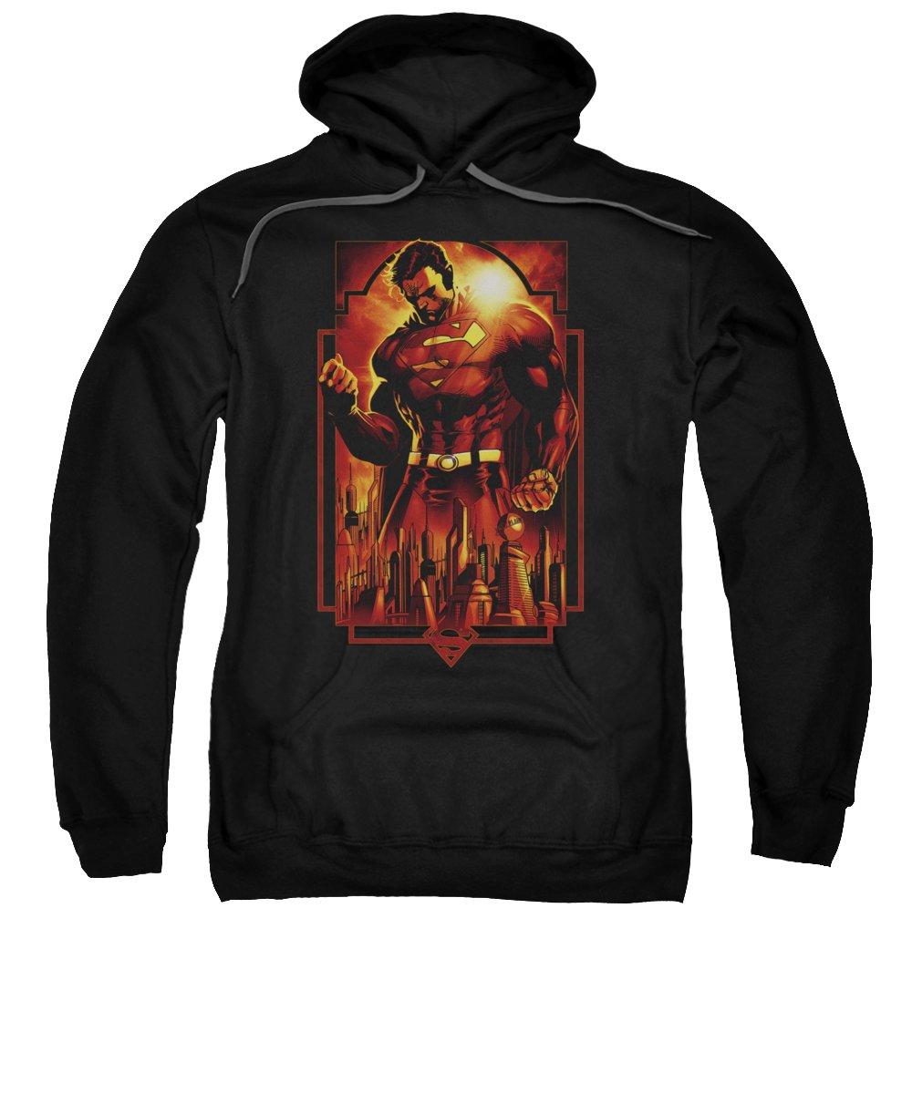 Superman Sweatshirt featuring the digital art Superman - Metropolis Deco by Brand A