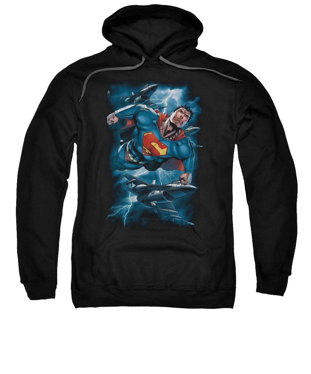 Superman Sweatshirt featuring the digital art Superman - Stormy Flight by Brand A