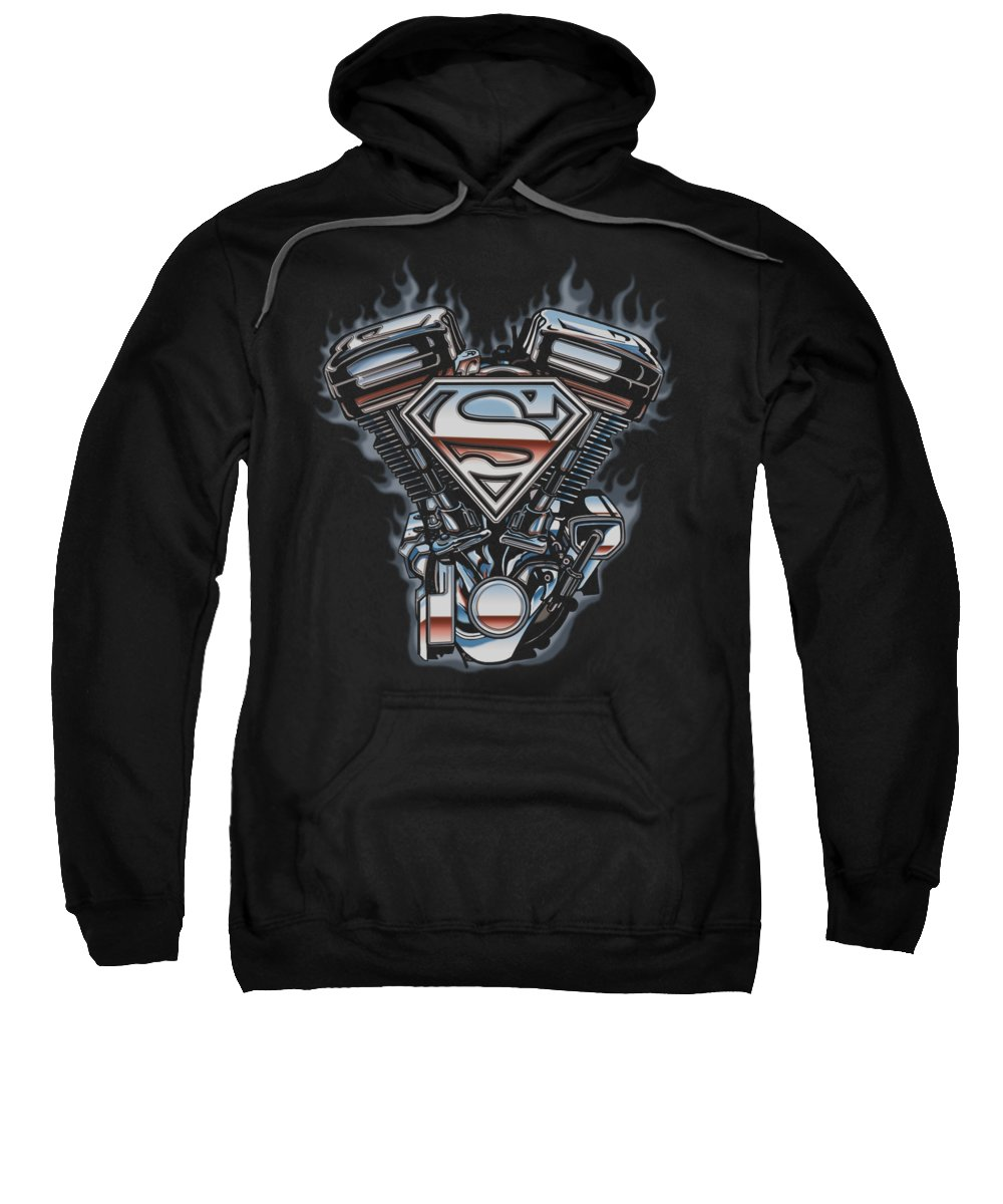Superman Sweatshirt featuring the digital art Superman - V Twin Logo by Brand A