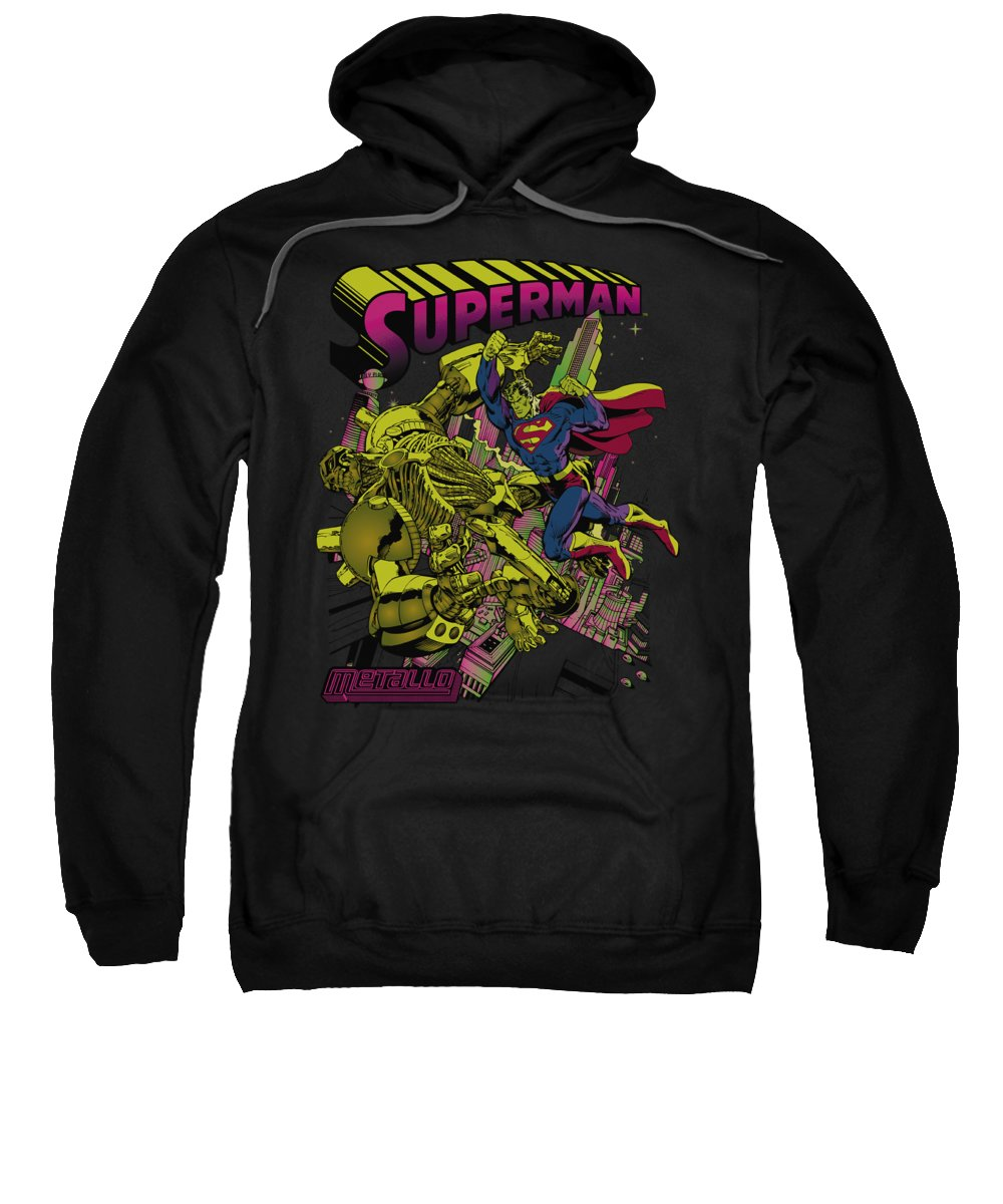 Superman Sweatshirt featuring the digital art Superman - Versus Metallo Blacklight by Brand A