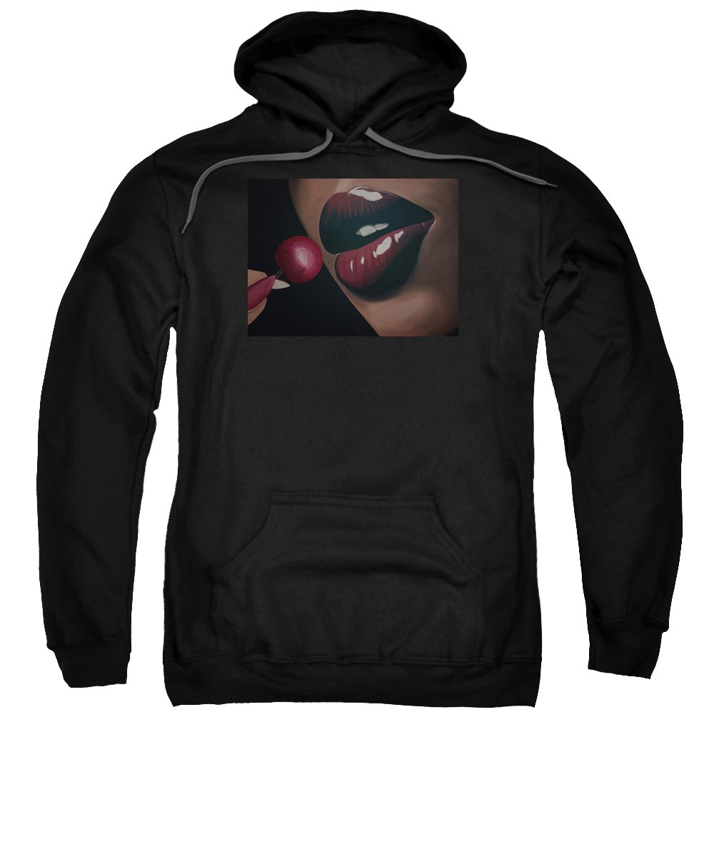 Female Sweatshirt featuring the painting Supple Cherry Lips by Dean Stephens