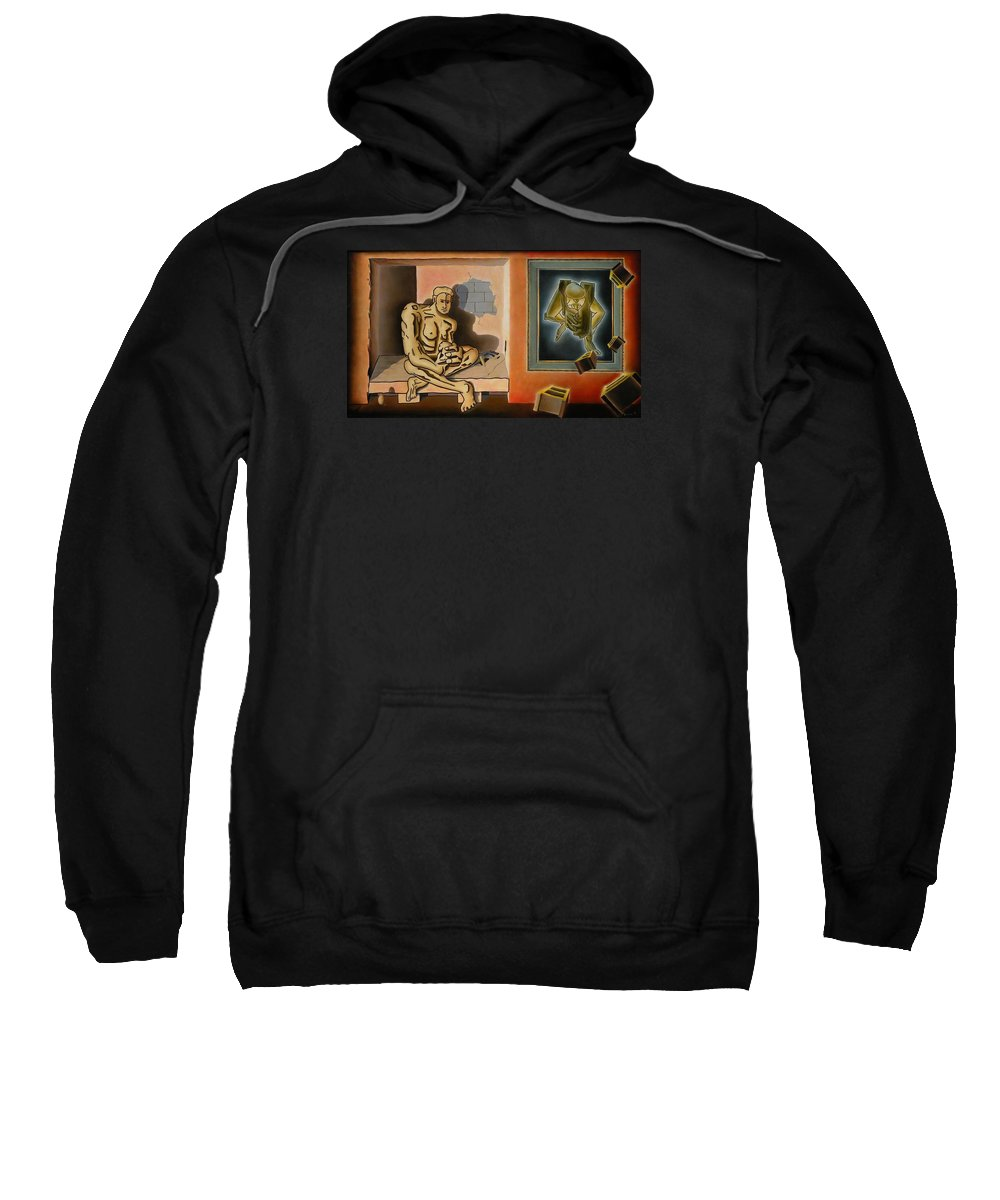 Surreal Sweatshirt featuring the painting Surreal Portents Of Genius by Dave Martsolf