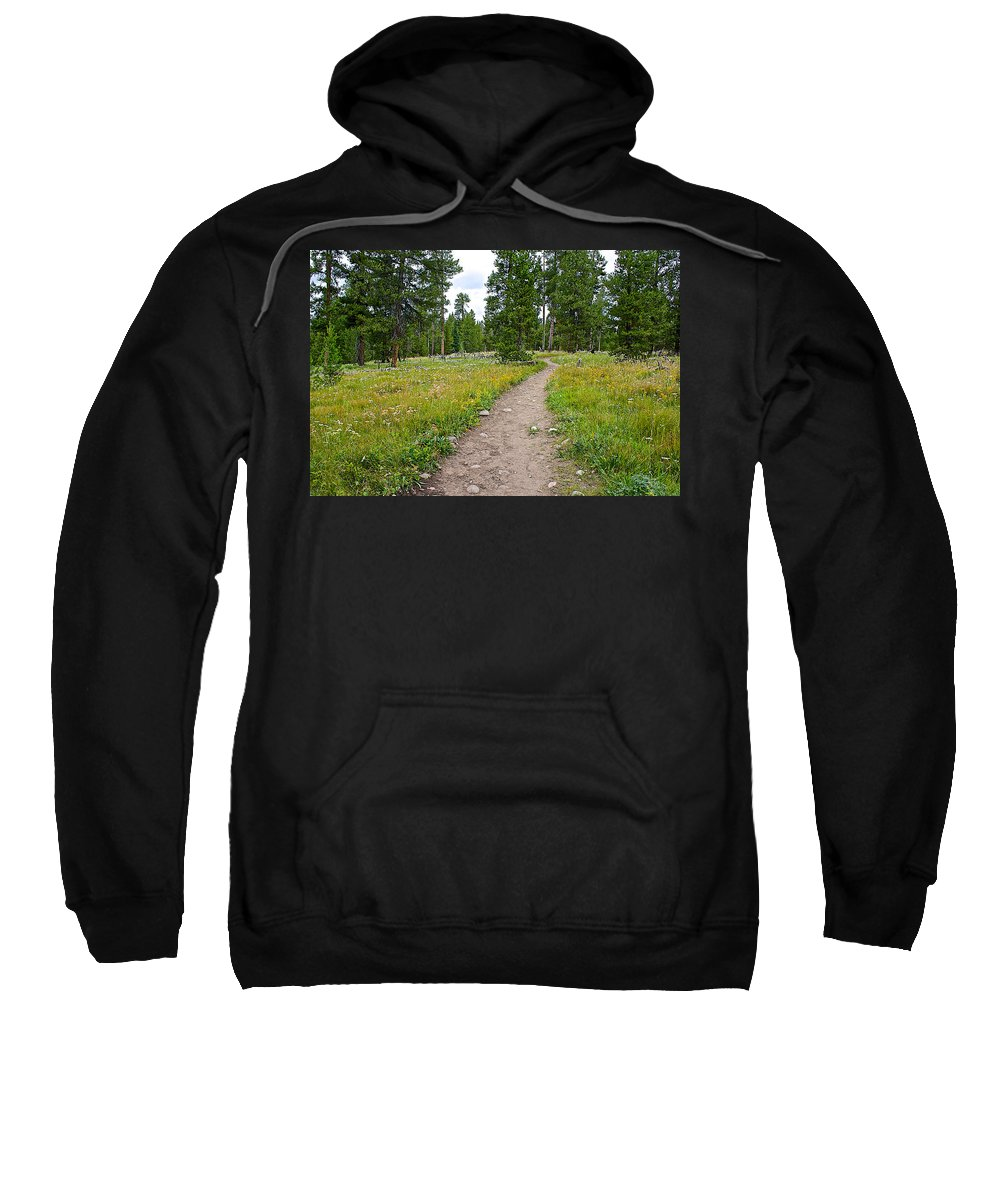 Swan Lake Trail In Grand Teton National Park Sweatshirt featuring the photograph Swan Lake Trail In Grand Teton National Park-wyoming by Ruth Hager