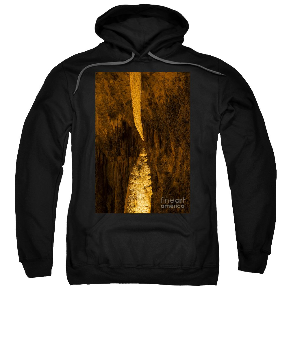 Sword Of Damocles Carlsbad Caverns National Park New Mexico Cave Caves Cavern Stalactite Stalactites Stalagmite Stalagmites Rock Formation Formations Parks Underground Landmark Landmarks Sweatshirt featuring the photograph Sword Of Damocles by Bob Phillips