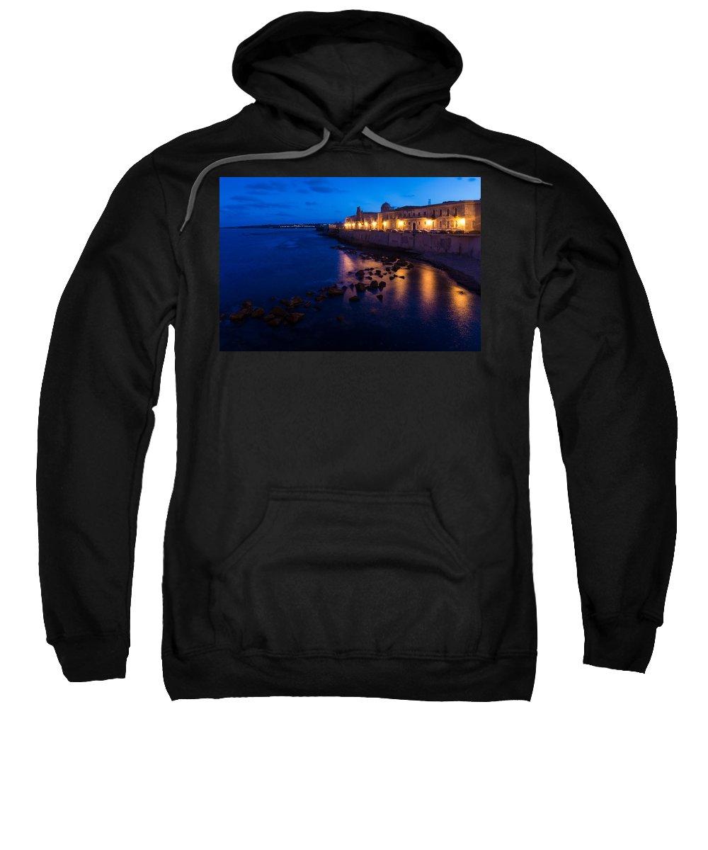 Syracuse Sweatshirt featuring the photograph Syracuse Sicily Blue Hour - Ortygia Evening Mood by Georgia Mizuleva