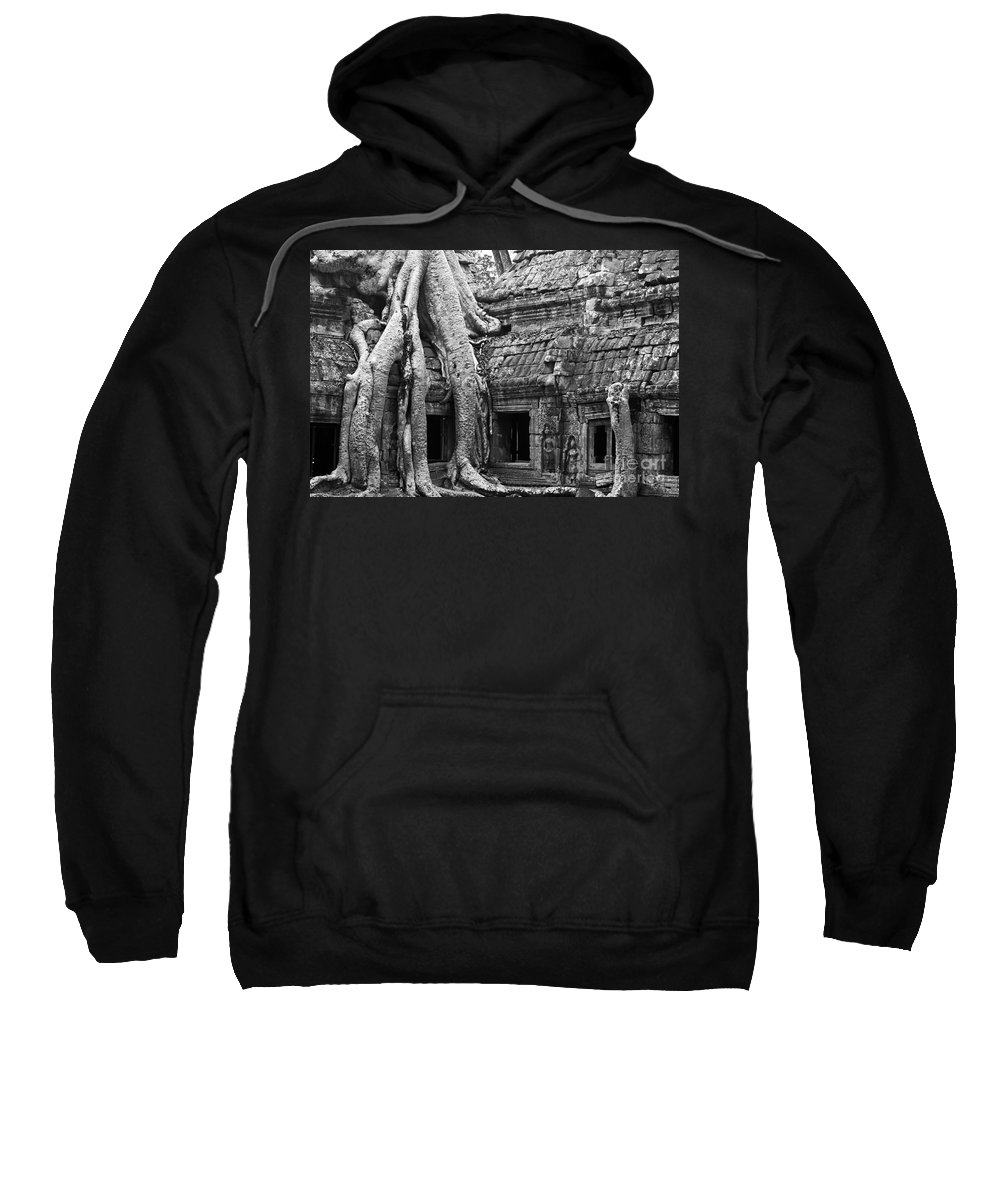 Cambodia Sweatshirt featuring the photograph Ta Prohm Roots And Stone 01 by Rick Piper Photography