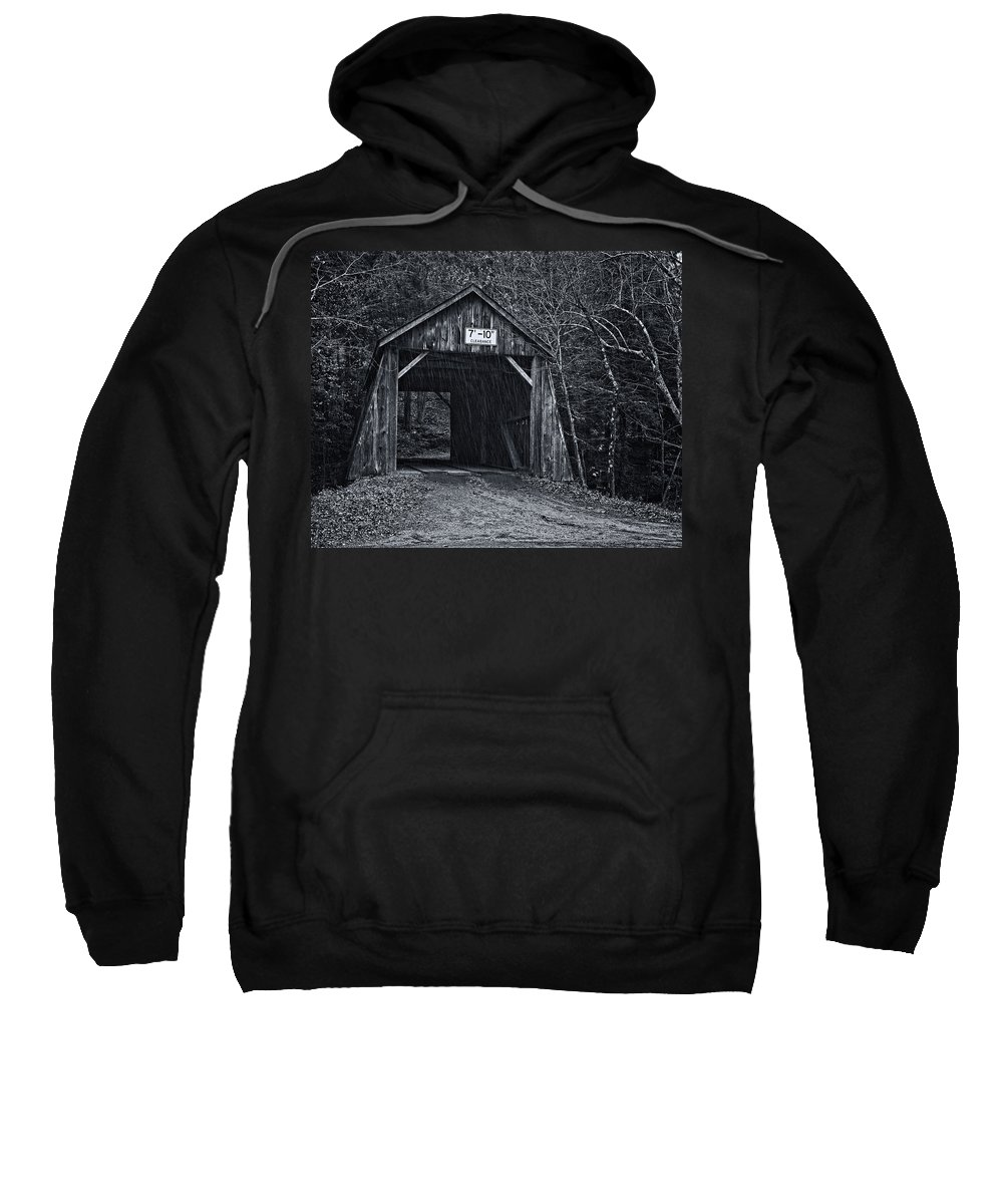 Joan Carroll Sweatshirt featuring the photograph Tappan Covered Bridge Bw by Joan Carroll