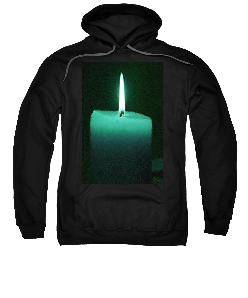 Teal Sweatshirt featuring the painting Teal Lit Candle by Bruce Nutting
