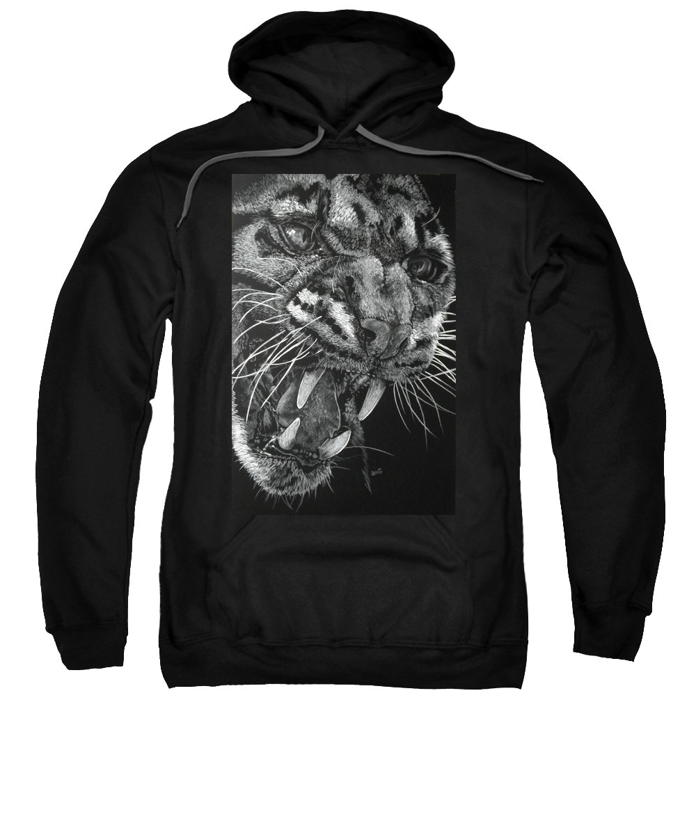 Clouded Leopard Sweatshirt featuring the mixed media Temper by Barbara Keith
