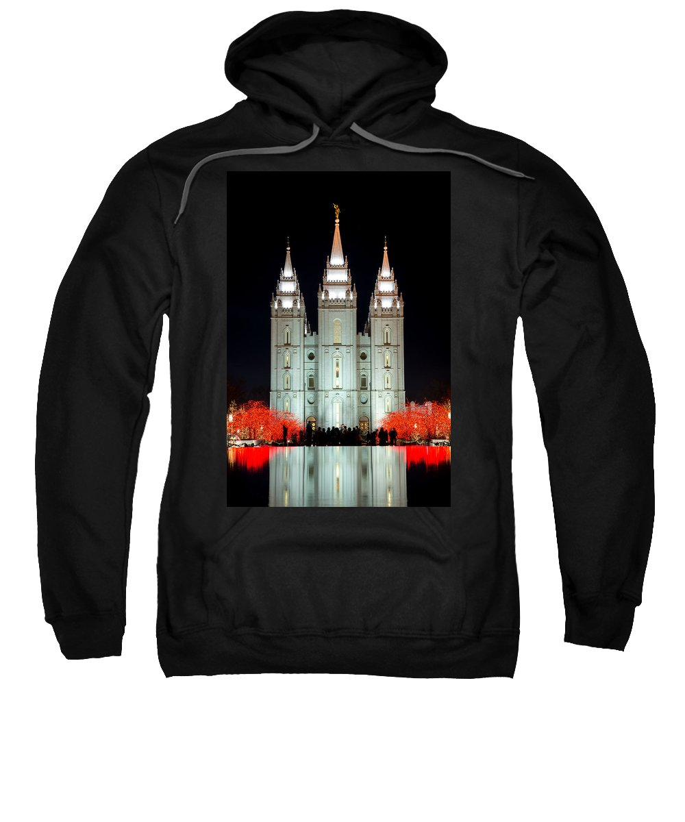 Temple Sweatshirt featuring the photograph Temple Lights by Dustin LeFevre