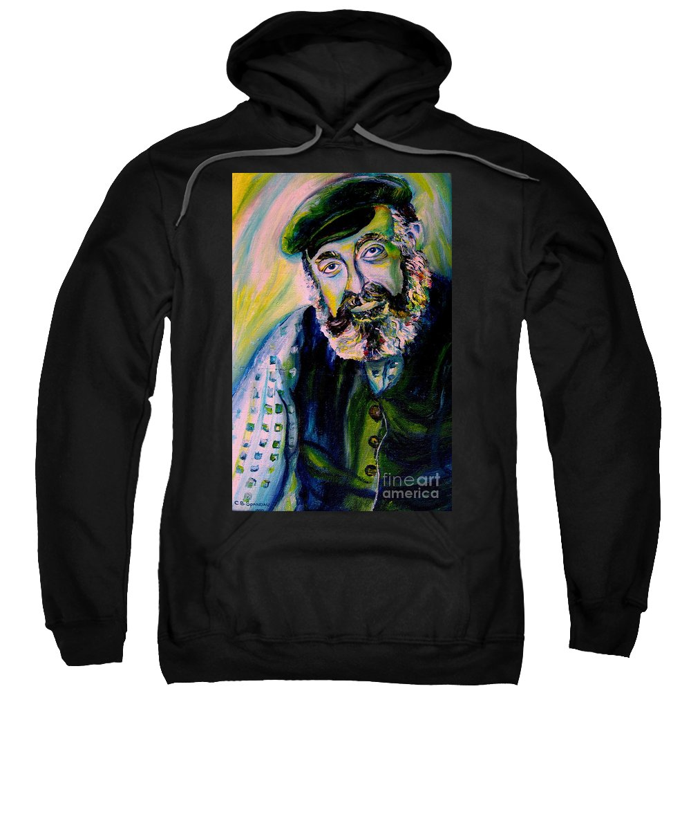 Tevye Fiddler On The Roof Sweatshirt featuring the painting Tevye Fiddler On The Roof by Carole Spandau