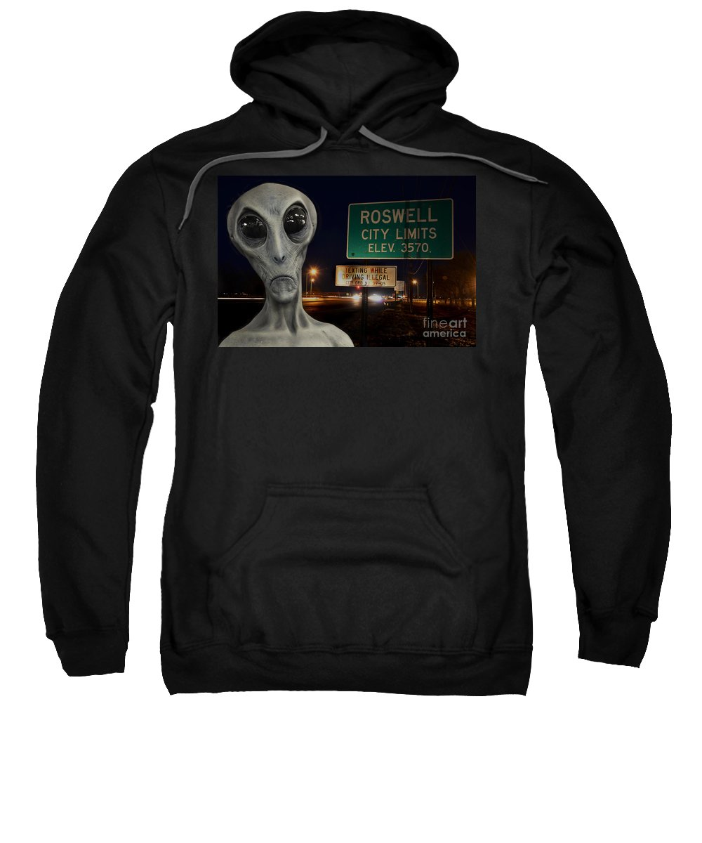 Alien Sweatshirt featuring the photograph Texting Causes Crashes by Bob Christopher
