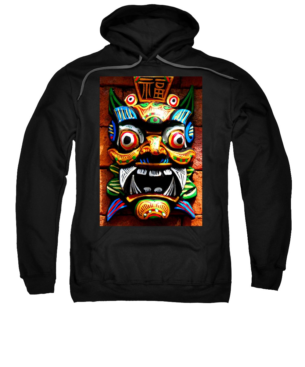 Mask Sweatshirt featuring the photograph Thai Buddhist Mask by Kaleidoscopik Photography