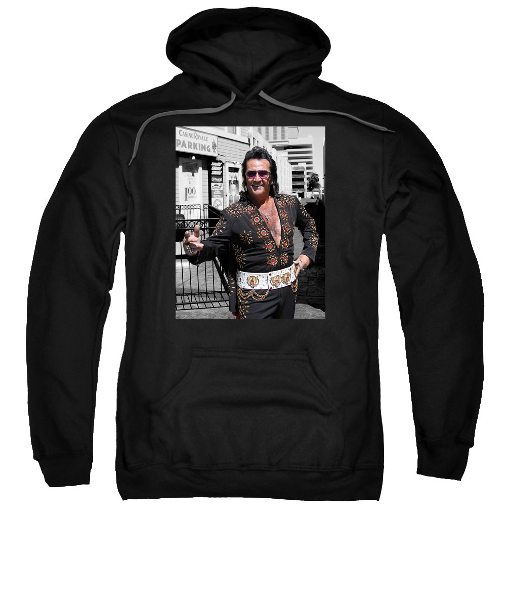 Elvis Sweatshirt featuring the photograph Thankyouverymuch Las Vegas by William Dey
