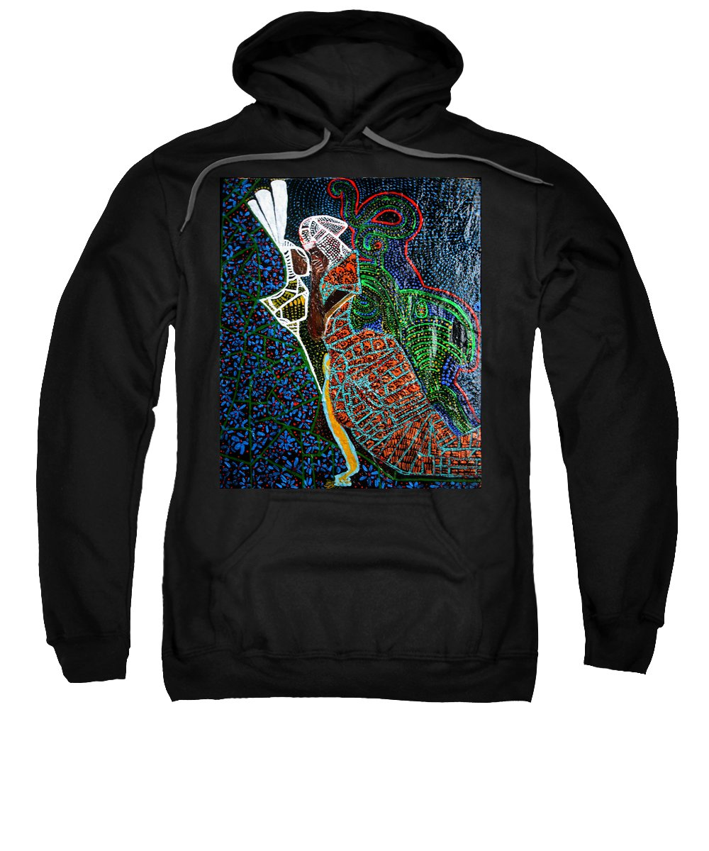 Jesus Sweatshirt featuring the painting The Annunciation by Gloria Ssali