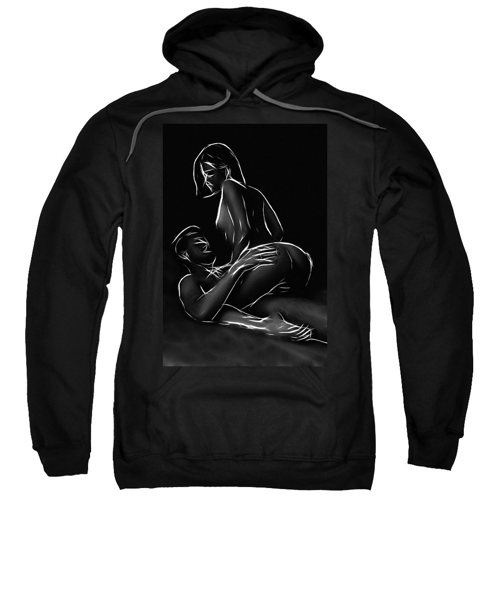 Woman Female Male Ride Riding Erotic Expressionism Erotic Sensual Black White Lover Lovers Love Loving Nude Naked Bed Sweatshirt featuring the painting The Art Of Riding by Steve K