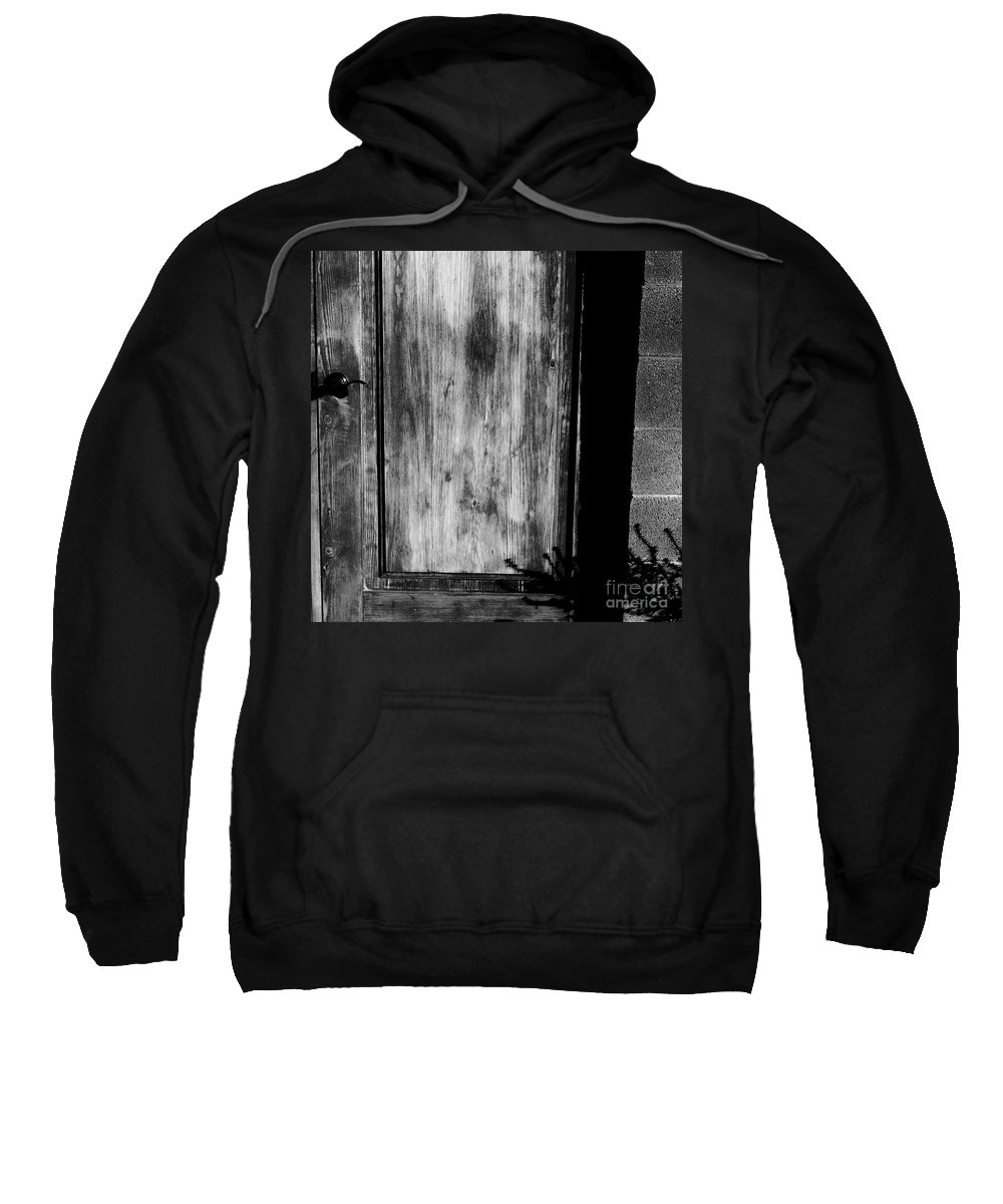 Digital Black And White Photo Sweatshirt featuring the digital art The Back Door Bw by Tim Richards