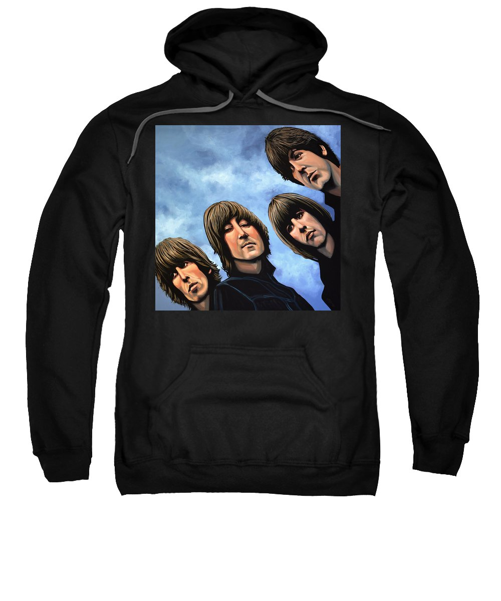 The Beatles Sweatshirt featuring the painting The Beatles Rubber Soul by Paul Meijering