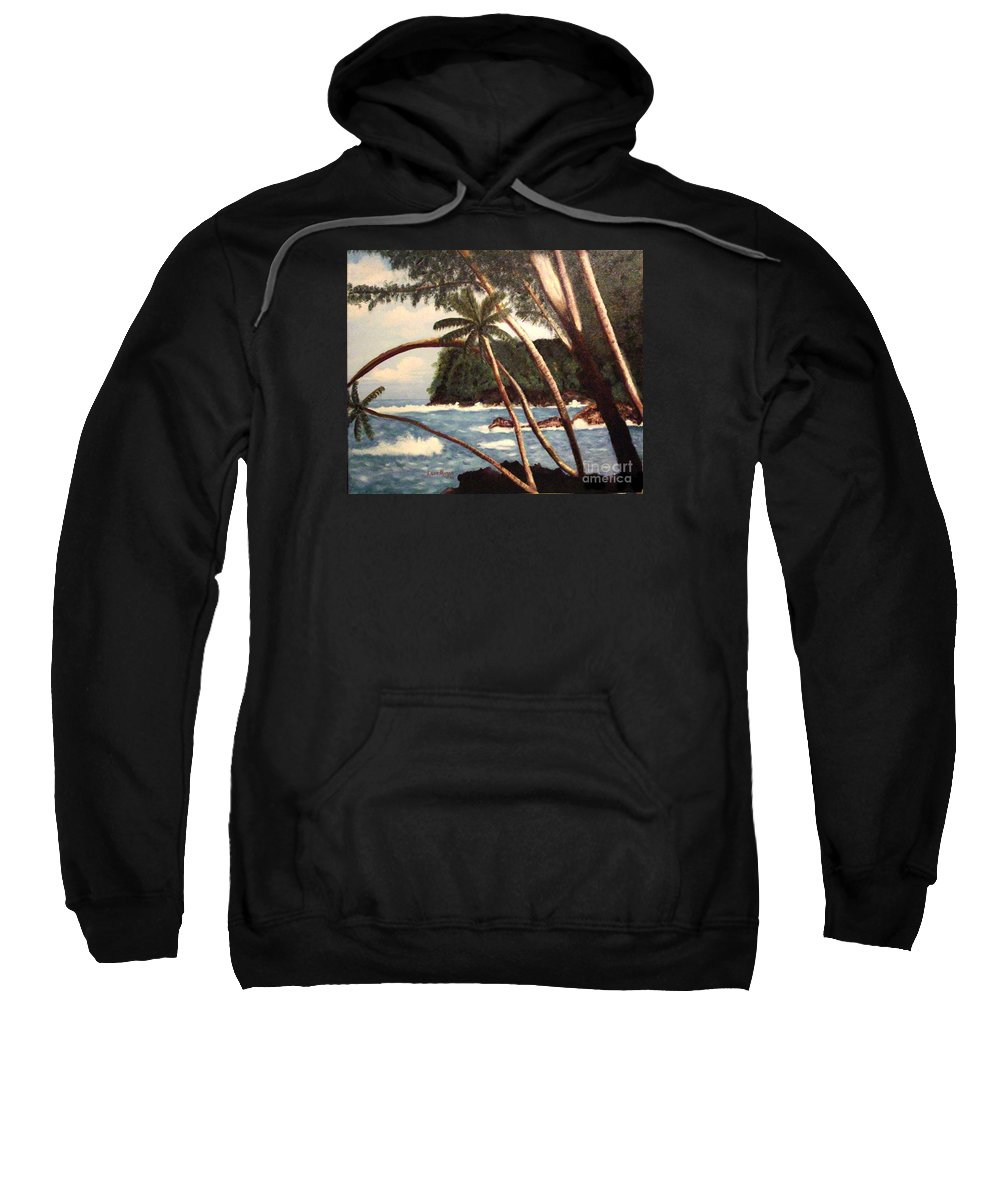 Hawaii Sweatshirt featuring the painting The Big Island by Laurie Morgan