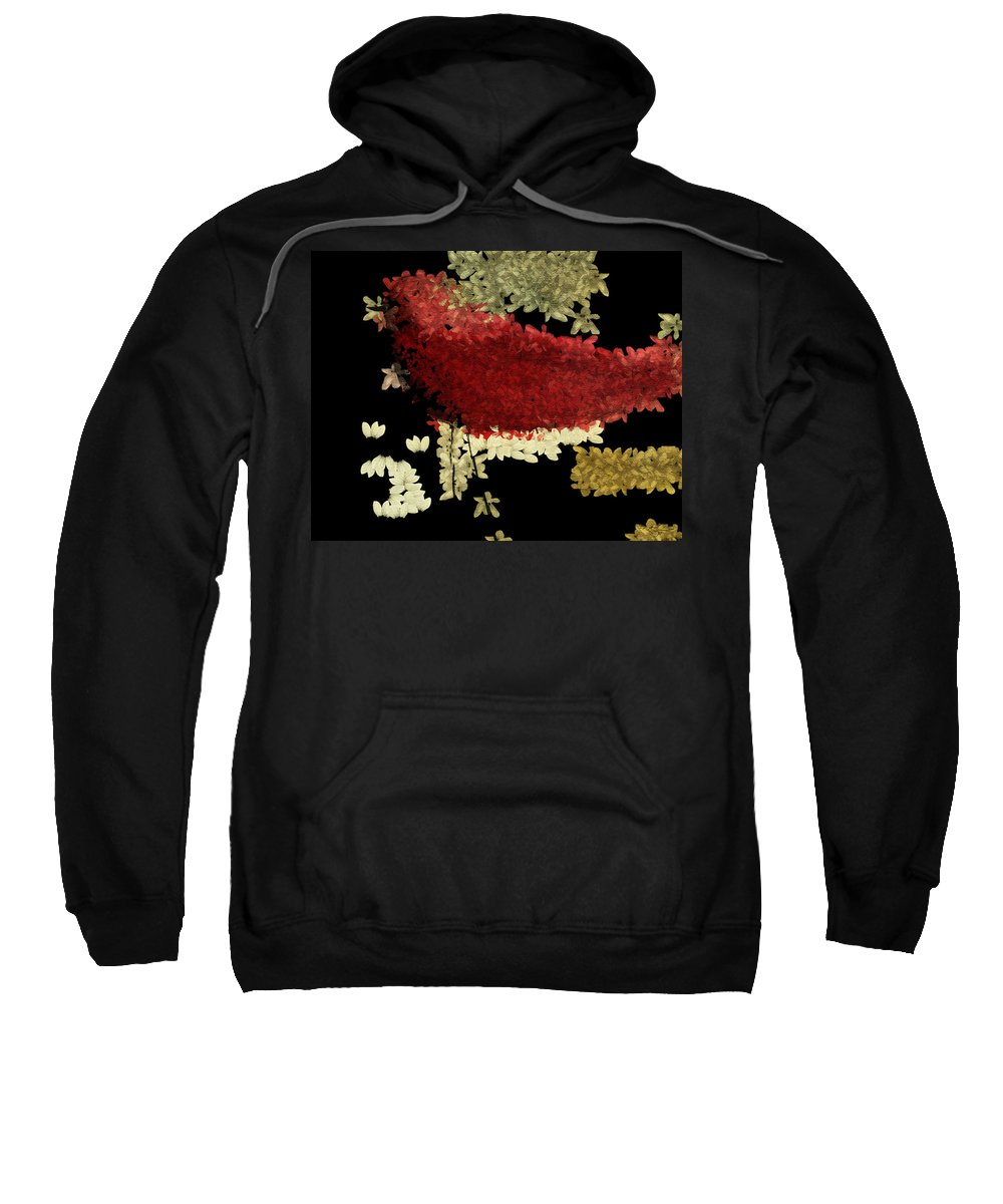 Red Sweatshirt featuring the painting The Bird - V1102b02 by Variance Collections