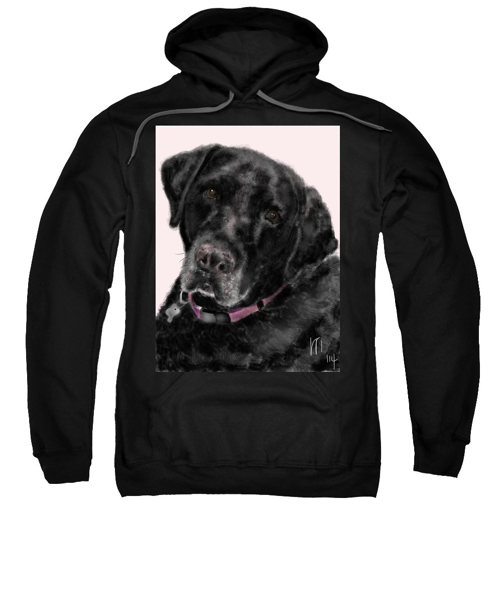 Black Lab Sweatshirt featuring the painting The Black Lab Sweetheart by Lois Ivancin Tavaf