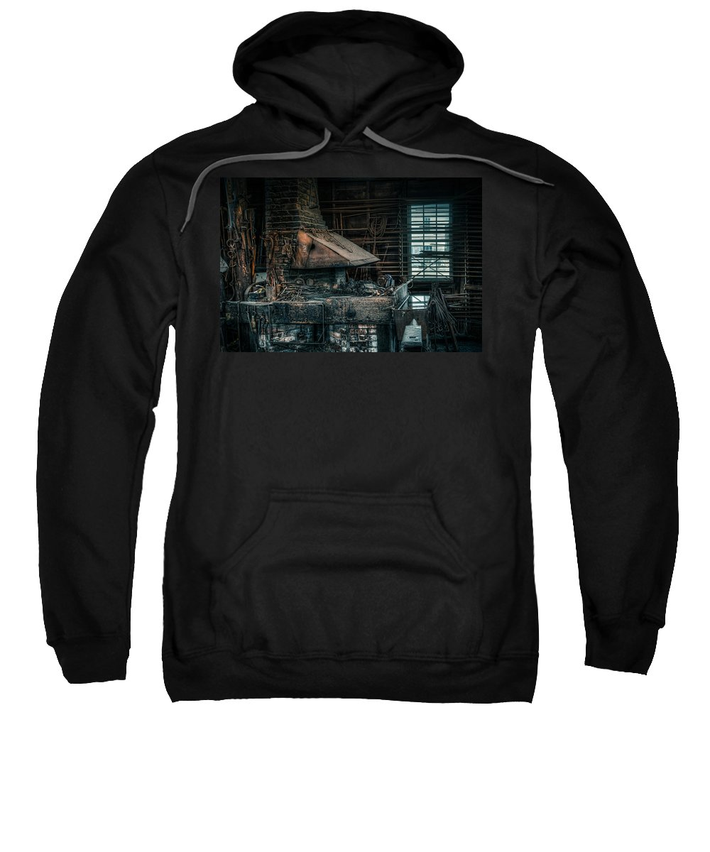 Blacksmith Sweatshirt featuring the photograph The Blacksmith's Forge - Industrial by Gary Heller