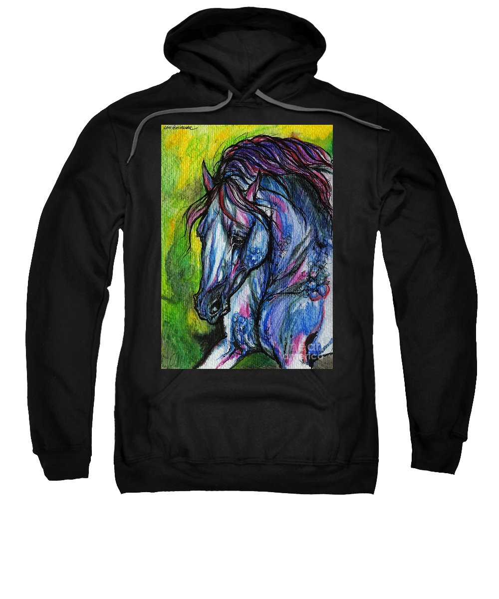 Horse Sweatshirt featuring the painting The Blue Horse On Green Background by Angel Ciesniarska