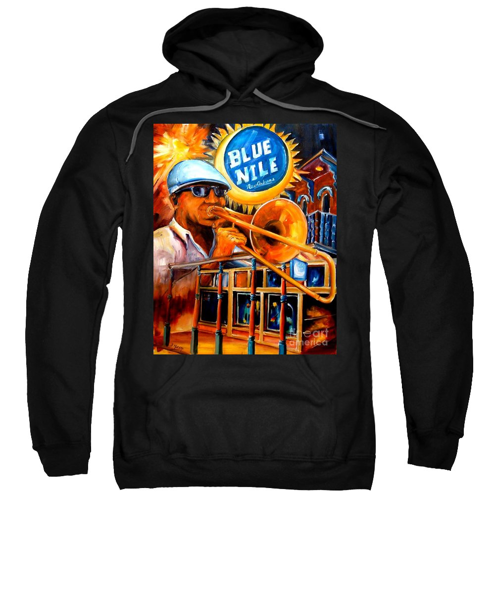 New Orleans Sweatshirt featuring the painting The Blue Nile Jazz Club by Diane Millsap