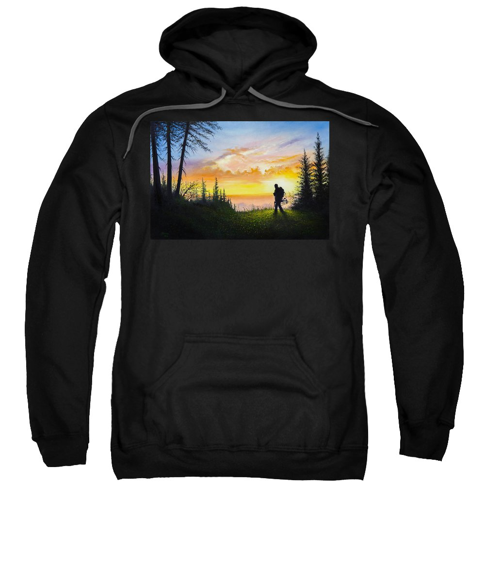 Bow Hunting Sweatshirt featuring the painting The Bowhunter by Chris Steele