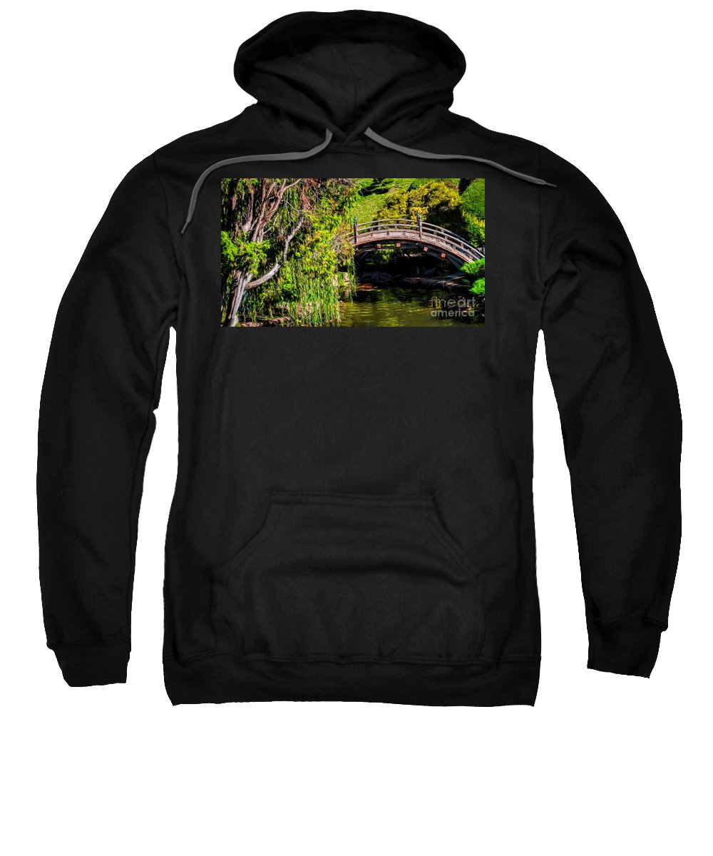Bridge Sweatshirt featuring the photograph The Bridge In The Japanese Garden by Peggy Hughes