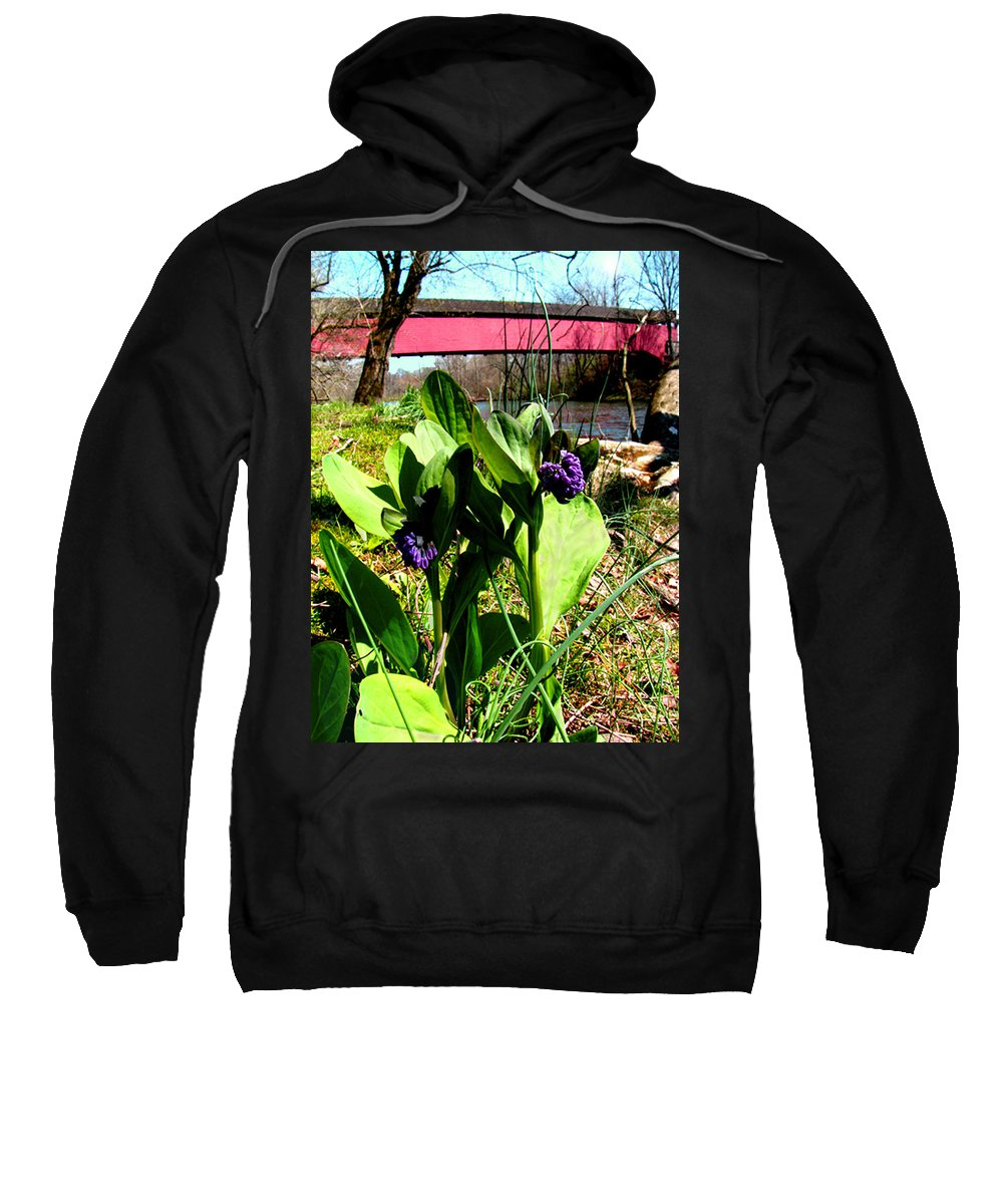 Flowers Sweatshirt featuring the photograph The Red Cover Bridge Or Wertz's Cover Bridge by Donna Brown
