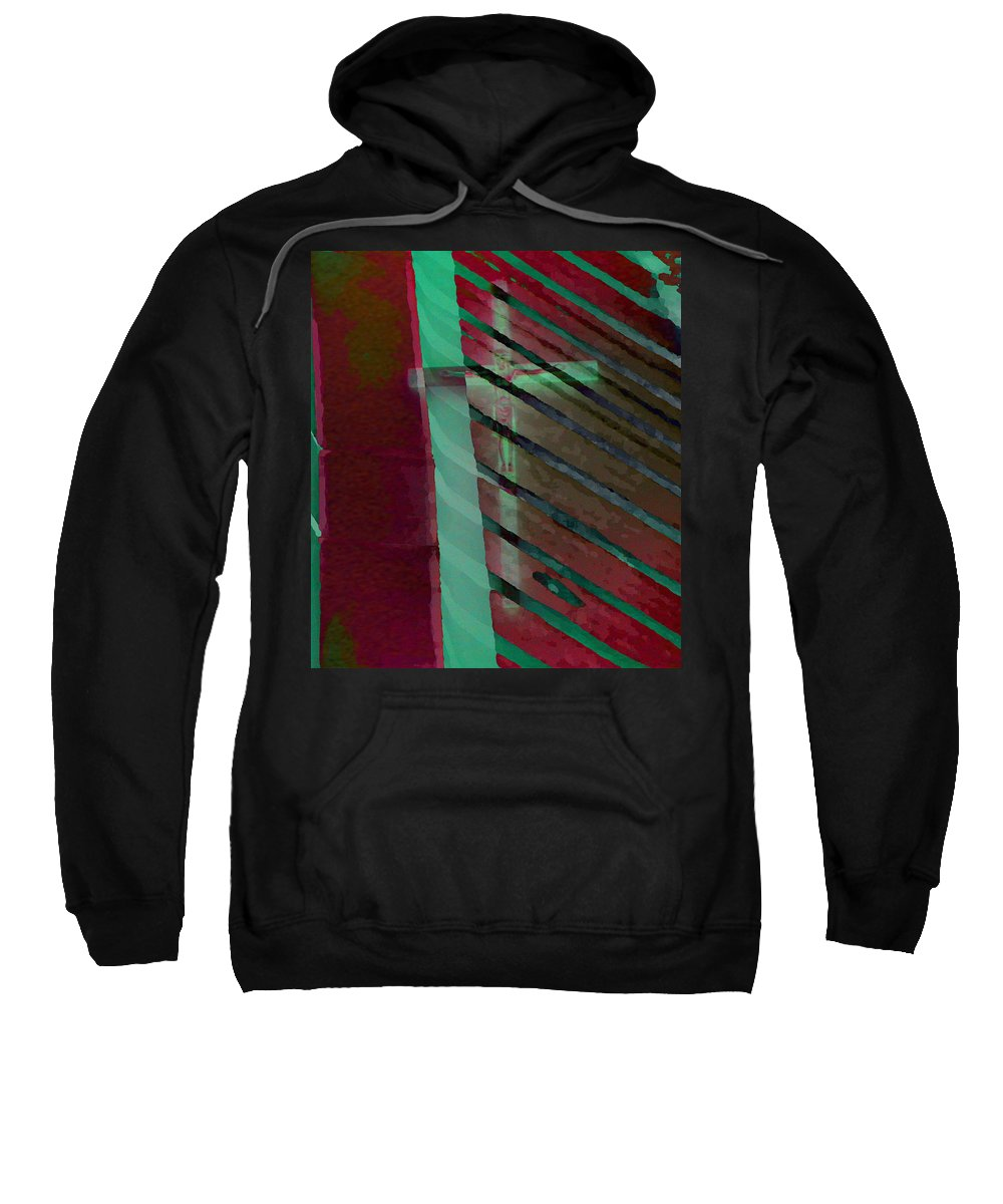 Expressive Sweatshirt featuring the photograph The Crucifix by Lenore Senior